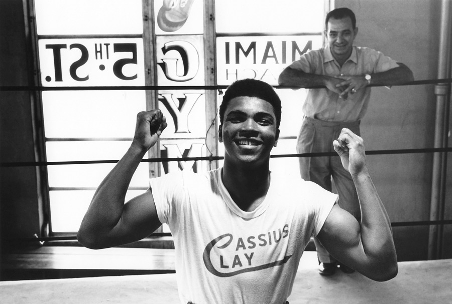 Cassius Clay at the 5th Street Gym (with Angelo Dundee) Miami Beach, FL 1961